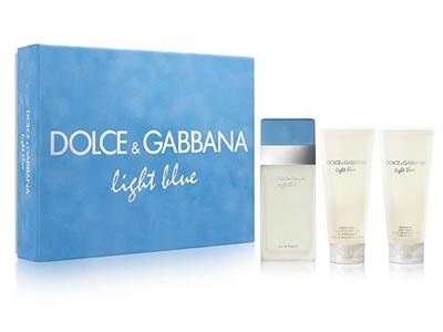 DOLCE GABBANA Light Blue dárkový set Edt 100 ml + 100 ml Tělové mléko + 100 ml Sprchový gel + výdejní místa po celé ČR